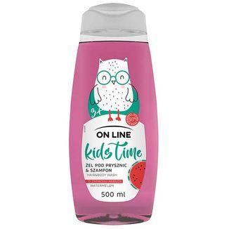 On Line Kids Time, żel pod prysznic i szampon 2w1 o zapachu arbuza, powyżej 3 lat, 500 ml - zdjęcie produktu