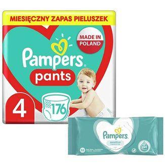 Pampers Pants, pieluchomajtki, Maxi, rozmiar 4, 9-15 kg, 176 sztuk + dodatkowo Sensitive, chusteczki nawilżane, 52 sztuki - zdjęcie produktu
