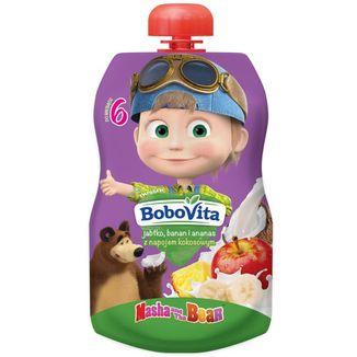 BoboVita Masza i Niedźwiedź Deser w tubce, jabłko, banan, napój kokosowy, po 6 miesiącu, 100 g - zdjęcie produktu