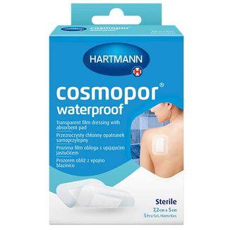 Cosmopor Waterproof, opatrunek chłonny, samoprzylepny, wodoodporny, jałowy, przezroczysty, 7,2 cm x 5 cm, 5 sztuk - zdjęcie produktu