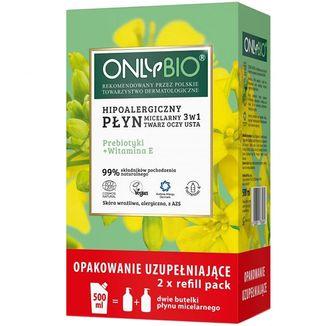 OnlyBio, hipoalergiczny płyn micelarny 3w1, prebiotyki + witamina E, zapas, 500 ml - zdjęcie produktu