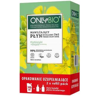 OnlyBio, nawilżający płyn micelarny 3w1, prebiotyki + olejek sezamowy, zapas, 500 ml - zdjęcie produktu