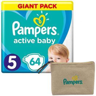 Pampers Active Baby, pieluchy, rozmiar 5, 11-16 kg, 64 sztuki + dodatkowo kosmetyczka - zdjęcie produktu
