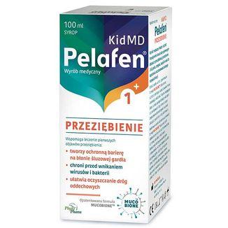Pelafen Kid MD Przeziębienie, syrop dla dzieci powyżej 1 roku życia i dorosłych, smak malinowy, 100 ml - zdjęcie produktu