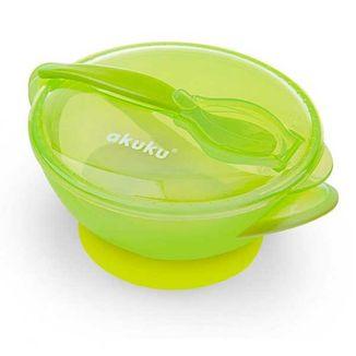 Akuku, miseczka z przyssawką i łyżeczką, zielona, A0454, powyżej 9 miesiąca, 300 ml - zdjęcie produktu