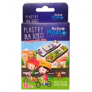 ActivePlast Firstaid, plastry dla dzieci, hipoalergiczne, 7 cm x 2 cm, 16 sztuk - zdjęcie produktu
