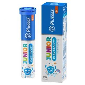 Plusssz Junior Elektrolity + multiwitamina, dla dzieci powyżej 3 roku życia, 20 tabletek musujących - zdjęcie produktu