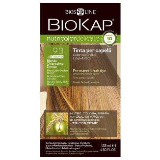 Biokap Nutricolor Delicato Rapid, farba koloryzująca do włosów, 9.3 bardzo jasny złoty blond, 135 ml - zdjęcie produktu