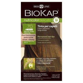 Biokap Nutricolor Delicato Rapid, farba koloryzująca do włosów, 7.0 średni naturalny blond, 135 ml - zdjęcie produktu