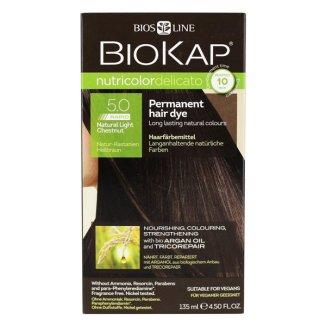 Biokap Nutricolor Delicato Rapid, farba koloryzująca do włosów, 5.0 jasny naturalny kasztan, 135 ml - zdjęcie produktu
