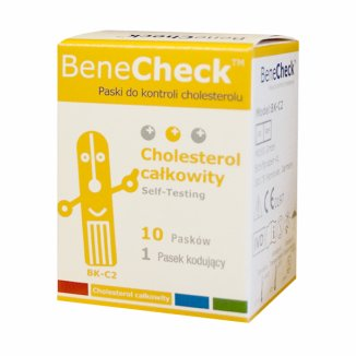 BeneCheck, paski testowe do kontroli cholesterolu, 10 sztuk - zdjęcie produktu
