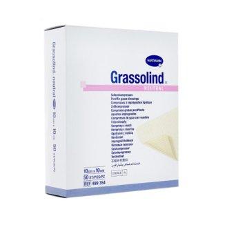 Opatrunek GRASSOLIND NEUTRAL z maścią, sterylny, 10 cm x 10 cm, 10 sztuk - zdjęcie produktu