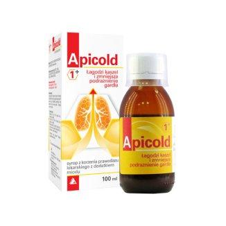 Apicold 1+, syrop z prawoślazu lekarskiego z dodatkiem miodu, 100 ml - zdjęcie produktu