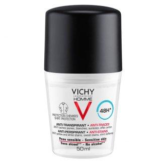 Vichy Homme, antyperspirant roll-on 48h dla mężczyzn, przeciw śladom na ubraniach, 50 ml - zdjęcie produktu