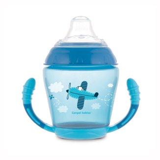 Canpol, kubek niekapek z uchwytami Toys, od 9 miesiąca, niebieski, 230 ml - zdjęcie produktu