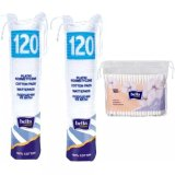 Bella Cotton Płatki kosmetyczne, 2 x 120 sztuk + patyczki higieniczne, 160 sztuk - miniaturka zdjęcia produktu