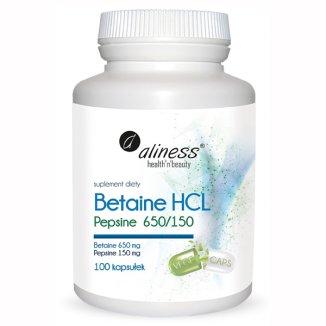 Aliness Betaine HCL Pepsine 650/150, betaina i pepsyna, 100 kapsułek - zdjęcie produktu