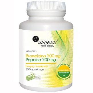 Aliness Bromelaina 500 mg + Papaina 200 mg, 100 kapsułek vege - zdjęcie produktu