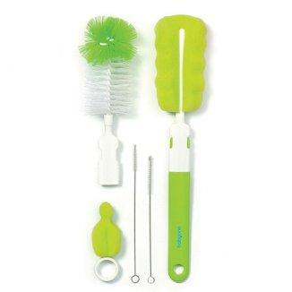 BabyOno, zestaw szczotek do butelek i smoczków z wymienną rączką z mini gąbką, zielony, 1 komplet - zdjęcie produktu