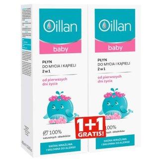 Oillan Baby, płyn do mycia i kąpieli 2w1, od urodzenia, 400 ml + 400 ml w prezencie - zdjęcie produktu