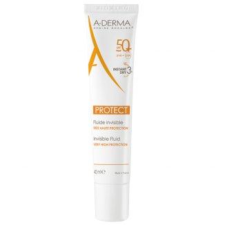 A-Derma Protect, przeciwsłoneczny bezbarwny fluid ochronny, skóra mieszana, tłusta i wrażliwa, SPF50+, 40 ml - zdjęcie produktu