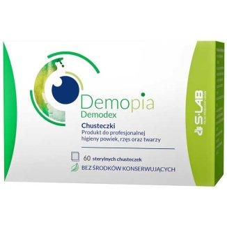 Demopia Demodex, chusteczki do profesjonalnej higieny powiek, rzęs oraz twarzy, 60 sztul - zdjęcie produktu