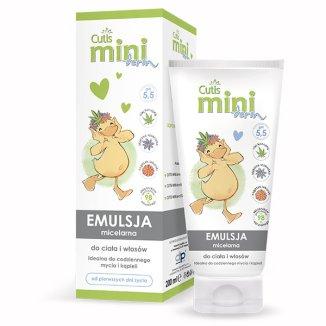 Cutis Mini Derm, emulsja micelarna do mycia ciała i włosów, od pierwszych dni życia, 200 ml - zdjęcie produktu