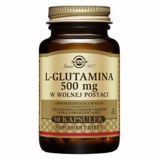 Solgar, L-Glutamina w wolnej postaci, 50 kapsułek - zdjęcie produktu