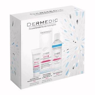 Dermedic Angio, krem łagodzący zaczerwienienia, 7 ml + krem korygujący zaczerwienienia SPF20 + IR, 40 g + płyn micelarny, 100 ml - zdjęcie produktu