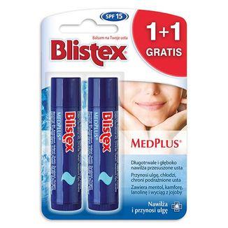 Blistex MedPlus, nawilżający balsam do ust, SPF15, 4,25 g + nawilżający balsam do ust, SPF15, 4,25 g gratis - zdjęcie produktu