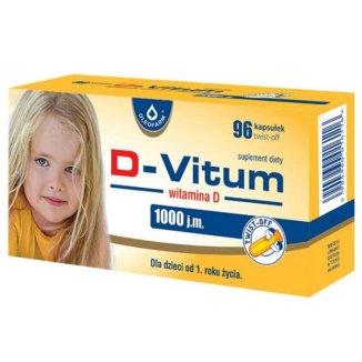 D-Vitum 1000 j.m., witamina D dla dzieci po 1 roku, 96 kapsułek twist-off - zdjęcie produktu
