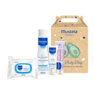 Zestaw Mustela Bebe Enfant My Baby Bag, żel do mycia, 200 ml + krem do twarzy, 40 ml + krem do przewijania, 50 ml + chusteczki nawilżane, 25 sztuk - zdjęcie produktu