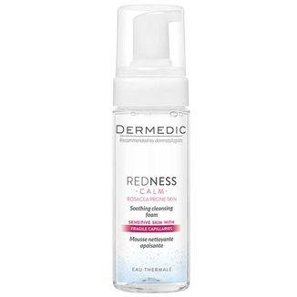 Dermedic Redness, kojąca pianka oczyszczająca, skóra naczyniowa z tendecją do nadreaktywności, rumienia i trądziku różowatego, 150 ml - zdjęcie produktu